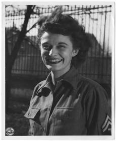 WAC Emma Dale (Newell) Love wearing an olive drab wool shirtwaist in France in the fall of 1944